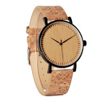 Wholesale hour hand men - 's Quartz Wristwatches BOBO BIRD E19 Men's Cool Designer Green Hour Hands Bamboo Wooden Watches Real Leather Bands Watches for Men