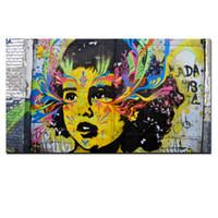 ingrosso tela di pittura astratta di vernice-Graffiti Pop Art Dipinto a mano / HD Stampa Wall Art Astratto Girl Face Dipinto ad olio su tela Multi dimensioni / Opzioni telaio g34