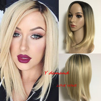 Wholesale High Temperature Fiber Wigs - Sexy Short Ombre Blonde Hair Synthetic Straight Wigs Hair With Bangs African American For Black Women In Stock High Temperature Fiber