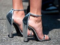 Women Brand Design Open Toe Silver One Strap Chunky Heel Sandals Ankle  Strap Super Thick High Heel Sandals Formal Dress Shoes 225f964b9e27