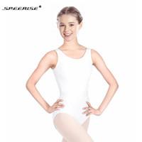 vêtements de danse blanc achat en gros de-SPEERISE Blanc Body Adulte Ballet Sans Manches En U Cou Cou Justaucorps Nylon Dos Nu Unitard Dancewear Gymnastique Justaucorps À Vendre