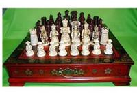 ingrosso decorazione cinese della scatola-decorazione in ottone fabbrica Ottone puro antico carattere cinese Qing 32 pezzi set di scacchi in pelle scatola in legno fiore uccello tavolo