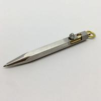 Wholesale Portable Pocket Pc - 1 pcs Handmade Mini Gun Shaped Stainless Steel Pen , Solid Portable Pocket Metal pendant Ballpoint Pen Self Defense EDC