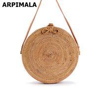 Wholesale Butterfly Strings - ARPIMALA 2017 Bali Circle Straw Bags for Women Handmade Round Beach bag Summer Rattan Handbags Butterfly Women Messenger Bag