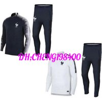 Wholesale track jogging suits - Maillot de Foot survetement Homme 2018 2019 jerseys football jogging Equipe de france new long sleeve soccer tracksuit,training track suit