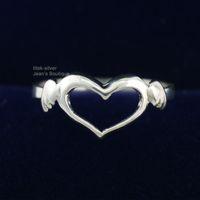 engel sterling silber schmuck großhandel-925 Sterling Silber Modeschmuck Schöne Fliegen Herz Flügel Engel Einfache Ring A3405