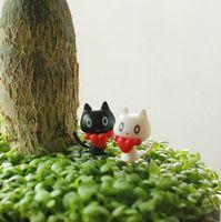 ingrosso miniature di giardino fiabesco-2 pezzi / set Mini White Black Cat Set Fairy Garden Miniatures Animali Micro Landscape Ornaments Home Garden Decoration