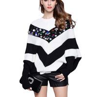schwarze pullover weiße streifen frauen großhandel-Marke Designer Woman Sweater Pullover Winter Langarm Pull Schwarz-Weiß-Streifen Lose Batwing Knit Sweater Mit Pailletten