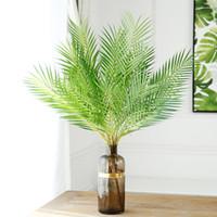 innen künstliche bäume großhandel-90 cm Künstliche Palme Grüne Blatt Pflanzen Kunststoff Zweig Tropische Blätter Indoor Kunststoff Pflanzen Baum Hausgarten Decor Bonsai