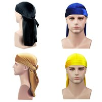 Wholesale derby style hats for sale - Fashion Velvet Durags Man Women Soft Classical Simple Turban Outdoor Breathable Pirate Cap New Style ns Ww