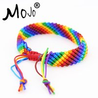 Wholesale Beautiful Chains - 2018 New Hot Sale Beautiful Handmade Rainbow Bracelet Jewelry Colorful Rope Bracelets for Womens Gift 5PCS