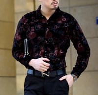 vestido de terciopelo floral al por mayor-Moda Primavera Otoño Para Hombre de terciopelo de Seda Camisas de Los Hombres de Manga Larga de Impresión Floral de Manga Larga Camisa de Vestir Suave Cómodo de alta calidad