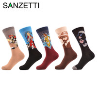 Wholesale winter oil paintings online - Sanzetti Pairs Men S Casual Combed Cotton Socks Napoleon Jesus Oil Painting Crew Socks Colorful Funny Winter Happy Socks