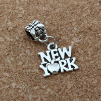 pulsera nueva york al por mayor-MIC .100 unids / lote Cuelga Antiqued Aleación de Plata New York Charm Big Hole Bead Fit Charm Pulsera Joyería 14.5x26mm A-168a