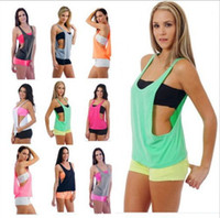 Wholesale Workout Tank Tops Wholesale - gym Sports TShirt smock women sports vest Yoga Workout Vest Fitness Training Exercise quick drying Sportswear Tee Tank Tops Singlets Clothes