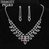 sistemas de la joyería de cristal de la boda al por mayor-TENACITYPEIAO Crystal Conjuntos de joyería nupcial para las mujeres pendientes del collar establece la boda del partido accesorios de regalo