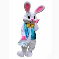 traje de mascote de coelho de coelhinho da páscoa venda por atacado-2018 venda direta da fábrica PROFISSIONAL de COELHINHO DA PÁSCOA de MASCOTE DOS TRAJES do COURO Coelho Hare Adulto Fancy Dress Fato Dos Desenhos Animados