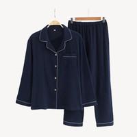 erkek gecelik triko toptan satış-Yeni Sıcak erkek% 100% Pamuk Çiftler Gecelikler set Ince Uzun Kollu Yumuşak Gecelik Pijama Sonbahar Bahar Erkek Pijama Artı Boyutu