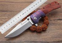 nuevo cuchillo de supervivencia al aire libre para dorar al por mayor-Flete libre 2018 nuevo Browning DA142 mango de madera cuchillo plegable 440 hoja de cuchillo de caza 57HRC acampar al aire libre supervivencia EDC cuchillo portátil