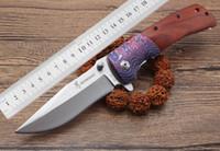 nova bronzear faca de sobrevivência ao ar livre venda por atacado-Frete grátis 2018 nova Browning DA142 punho de madeira faca dobrável 440 lâmina faca de caça 57HRC acampamento ao ar livre de sobrevivência EDC faca portátil
