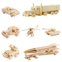 kits de madera modelo al por mayor-DIY 3D Carro de Coche de Madera Juego de Rompecabezas Niños Niños Color Natural Modelo de Juguete Kits de Edificio Aficiones Educativas de Regalo