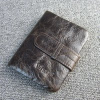 Wholesale genuine money purses for men online - Vintage Casual Genuine Leather Men Wallets Short Small Retro Cowhide Purse Wallet With Coin Pocket Money Bag Coffee For Man W17040