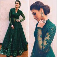 indische kleider kleider großhandel-Hunter Green Abendkleider 2018 mit langen Ärmeln Perlen Spitze Kaftan Abaya Dubai indischen Boden Länge V-Ausschnitt A-Linie Abschlussball-Kleider