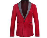 Otoño de terciopelo de invierno de los hombres chaqueta de traje de ocio de moda  rojo novia novio cantante Slim Fit Blazer fe1860f56eb