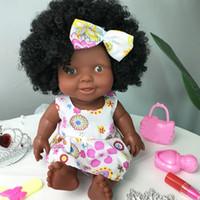 hareketli bebek mafsalları toptan satış-Bebek Hareketli Ortak Afrika Bebek Oyuncak Siyah Bebek İyi Bebek Bebekler Çocuk Eğlenceli Oyuncak Noel Hediyesi Oyuncaklar Kızlar için menina Boneca