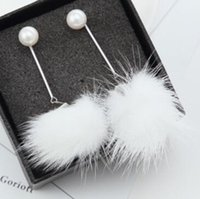 koreanische winterzubehör großhandel-Hochwertige Koreanische Pelzkugel Baumeln Ohrringe Frauen Perle Ohrringe Allgleiches Zubehör Party Modeschmuck Herbst Winter Tragen Brincos
