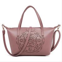 Wholesale handbags online online - Hollow Out Designer Bag from China Brand Online Women Crossbody Light Purple PU Tote Handbag DHL Shipping FLD589