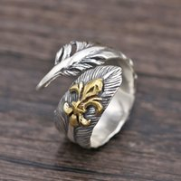 Wholesale Jewelry Made Feathers - Brand new 925 sterling silver designer jewelry vintage hand-made feather shape unique adjustable open men's ring New Year gift free shipping