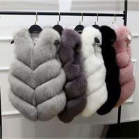 fox inverno casacos mulheres venda por atacado-Falso Casaco De Pele Outono Inverno Mulheres 2018 Nova Moda Casual Sem Mangas Fino Faux Fox Fur Vest Brasão Colete Mulheres Casaco Feminino