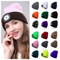 Wholesale sport beanie hats online - 18styles Winter LED Light knitted Hat Casual Elasticity Keep Warm Knitting Cap warm outdoor sport Beanie cycling party hat FFA931