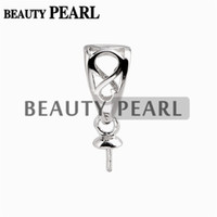 Wholesale sterling silver connectors - 10 Pieces Pendant Bail Pearl Mounting Fine Jewelry DIY Silver Connector Small Charm 925 Sterling Silver