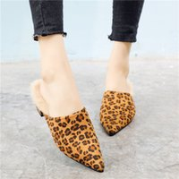 a572e328b09f Sexy Fur Slippers Leopard Shoes Women Winter Rabbit Fur Mules Slides Ladies  Chunky Heel Shoes High Quality Sandalias Mujer
