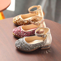 Wholesale kids wedges shoes - 2018 Summer new sequin Children Sandals Fashion princess Girl Shoes kids Wedge Sandals wedding Girls shoes kid shoes Girls Footwear A1729