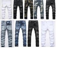616548e1f22693 Jeans di lusso per uomo Jeans da uomo Jeans uomo Denim Biker Runway Biker a  coste Slim Distressed Washed Pantaloni strappati 12 tipi