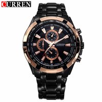 вахта mens нержавеющей стали curren оптовых-Curren Watch Mens  Black Stainless Steel Quartz Wrist Watches Waterproof  Sport Male Clock Relogio Masculino