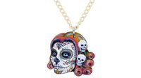 colares de esqueleto venda por atacado-Declaração de Acrílico Halloween Crânio Esqueleto Colar Pingente Gargantilha Moda Novidade Cadeia de Moda Do Punk Jóias Encantos Para As Mulheres Meninas Senhoras