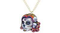 ingrosso collana di dichiarazione acrilica-Dichiarazione Acrilico Halloween Skeleton Skull Collana pendente Choker Moda novità Catena Moda Punk gioielli Charms per le donne Ragazze signore