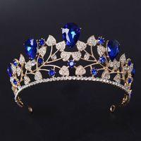 ingrosso blu corona tiaras-Nuovo arrivo magnifico strass blu nuziale corona diademi di moda Diadema d'oro per le donne accessori gioielli capelli nozze