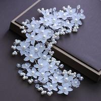 ingrosso la fascia coreana della perla bianca-Super Fairy White Crystal Headband Sposa Wedding Wreath Tiara Accessori per capelli Coreano Damigella d'onore Pearl Head Flower Hair Band Jewelry