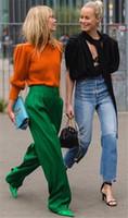frau elegante breite hose großhandel-PADEGAO Grün Lange Breite Beinhosen für Frau Elegante Freizeithose Lose Über Größe 2018 Hohe Qualität Weibliche Kleidung Y1891705