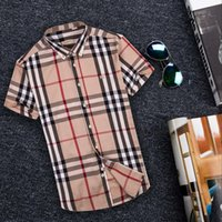 Wholesale Camisa Casual Slim Fit - 2018 Brand Men's Business Casual shirt mens short sleeve striped slim fit camisa masculina social male shirts new fashion shirt #1122