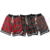 Wholesale street board - Mens Scottish Pattern Plaid Shorts Casual Printed Board Shorts Fashion Male High Street Clothes Free Shipping