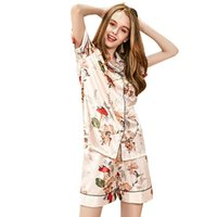 ingrosso set di seta pigiama di seta-Pajama Sets Womens Sleep 2018 Summer Casual Silk New Short Stampa Turn Down Collar Shorts Suit a due pezzi Tuta Set pigiama