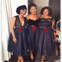 Wholesale tea dresses bridesmaids resale online - 2018 Navy Blue Cheap Bridesmaid Dresses Off Shoulder Deep V Neck Lace Tulle Spaghetti Straps Long Sleeves Tea Length Maid of Honor Gowns