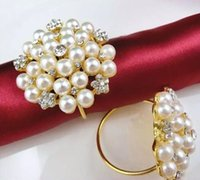 Wholesale rhinestones pearls napkin rings for sale - Group buy Pearls Rhinestone Napkin Rings Hotel Wedding Flower Shape pearl gold ring napkin holder Western Style Wedding Rings
