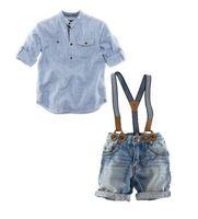ingrosso bretelle a righe per neonati-Estate Baby Boys Denim Sets Abbigliamento blu a righe Camicie casual + Pantaloncini bretelle Jeans Pantaloni 2PC Tute Costume Abbigliamento per bambini